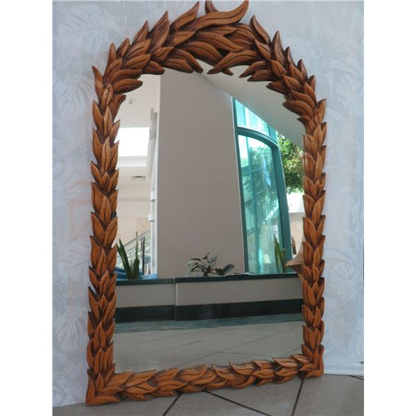 "Carved Wooden Mirror, Leaf Pattern, 28.5"" X 45.5"""