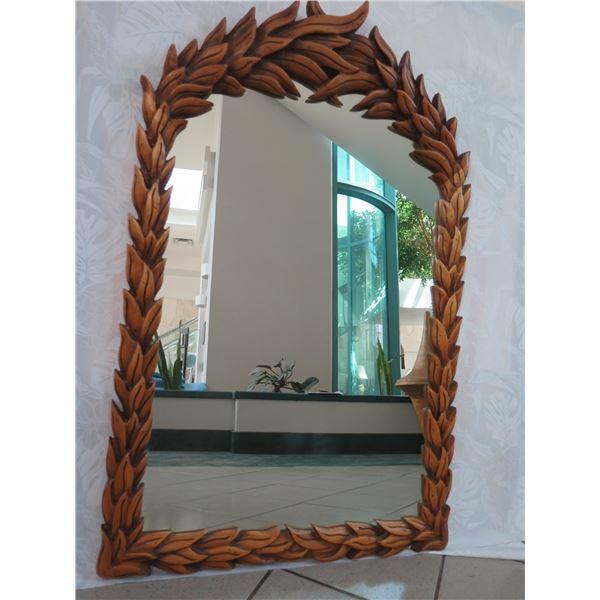 "Carved Wooden Mirror, Leaf Pattern, 28.5"" X 45.5"""