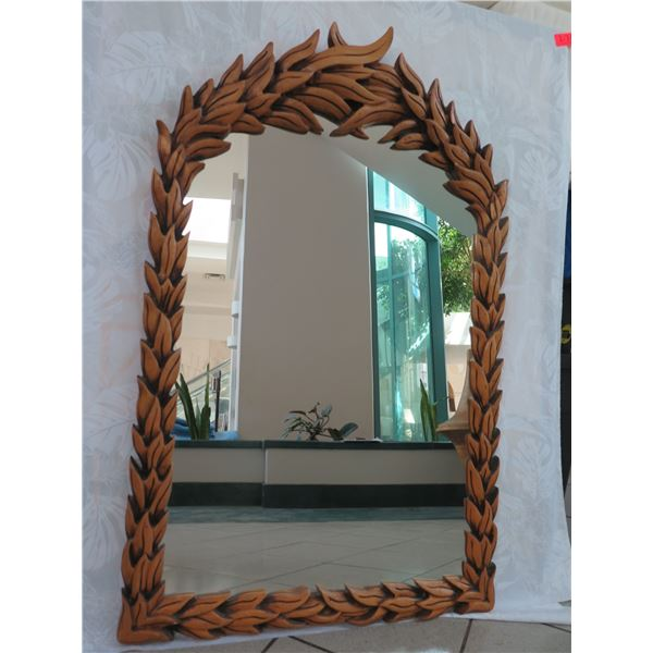 "Carved Wooden Mirror, Leaf Pattern, 28.5"" X 45.5"" (small piece chipped off)"
