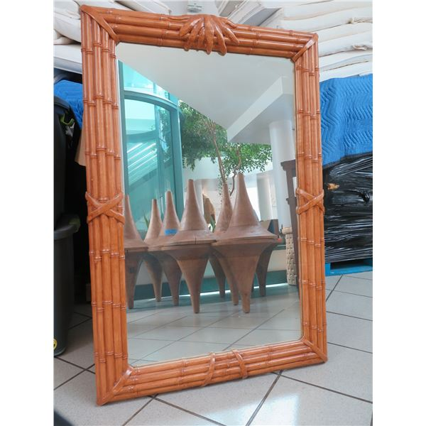 """Large Rattan-Look Mirror 31.5"""" X 48"""" (not real wood)"""