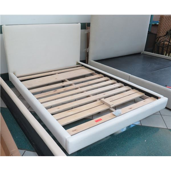 New Full-Size Crate & Barrel Merrick Bed Frame w/ Upholstered Headboard & Sides, Cream/Sand, Outer F