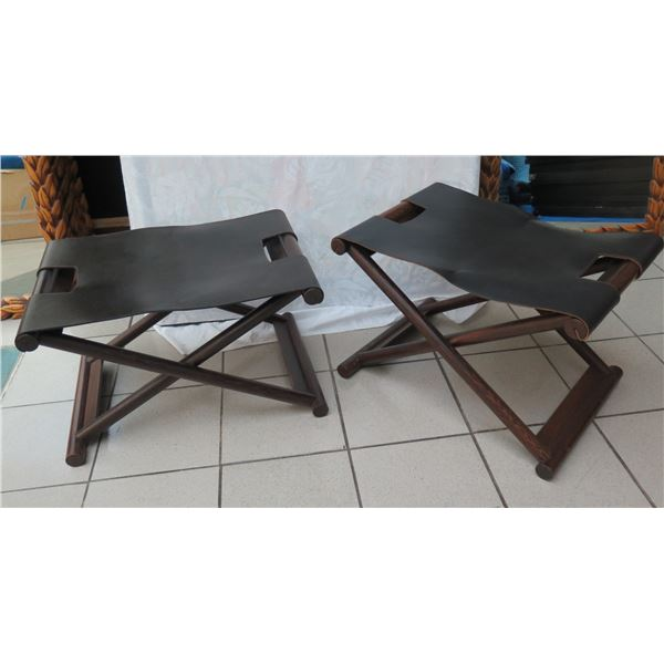 """Folding Stools (or Luggage Stands) w/ Thick Genuine Leather Approx. 24"""" x 17"""" x 15.5""""H"""