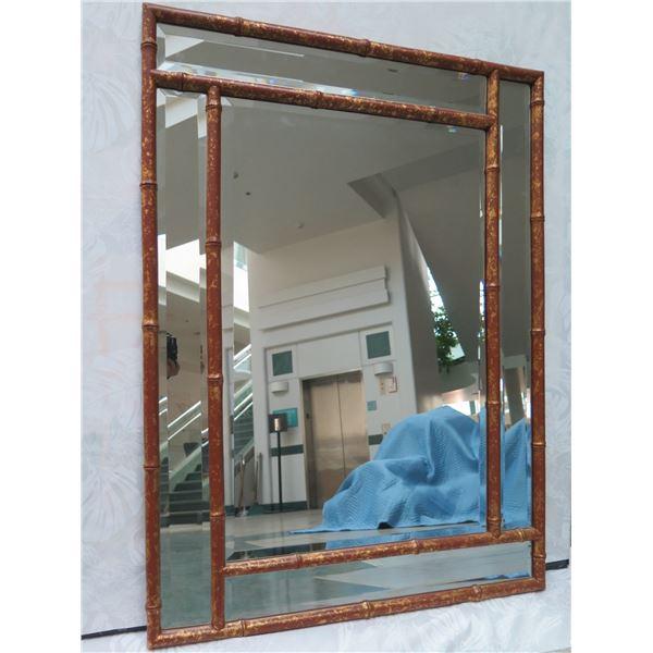 """Geometric Rattan-Look Mirror 42"""" X 30"""""""