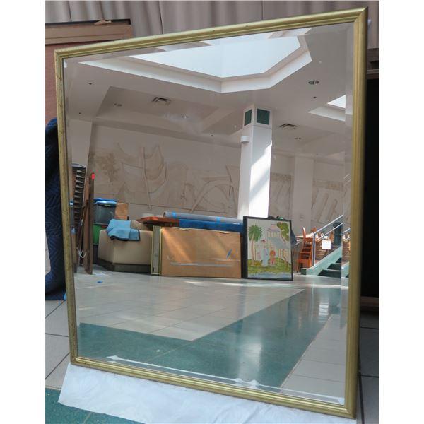 "Textured Gold-Tone Metal Frame Mirror 38"" x 26"""