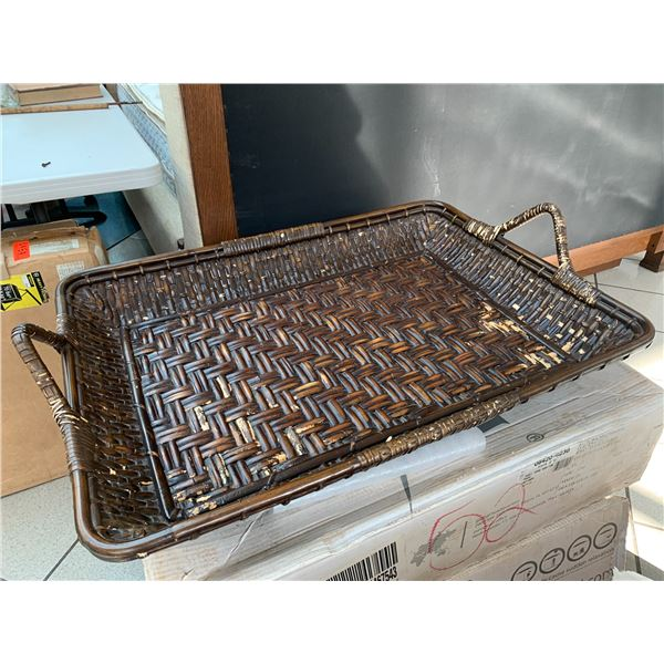 """Large Woven Rattan Tray 33"""" x 24"""" x 5""""H"""
