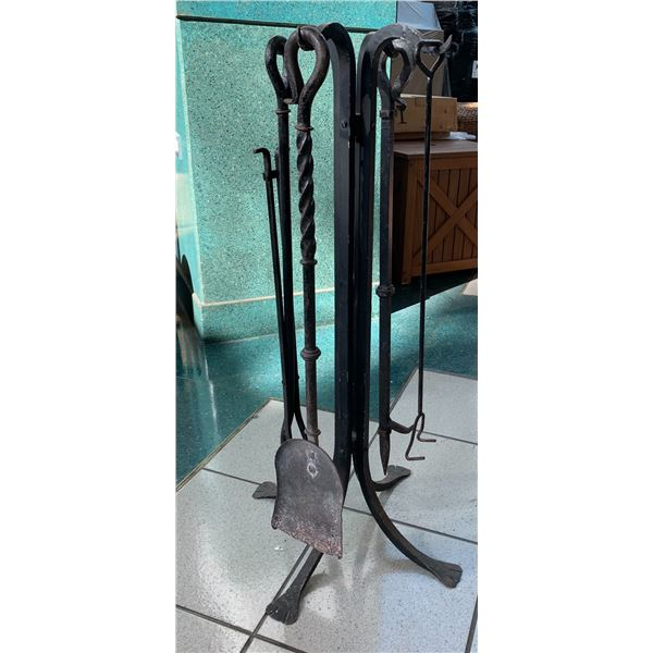 Wrought Iron Fireplace Tools and Rack
