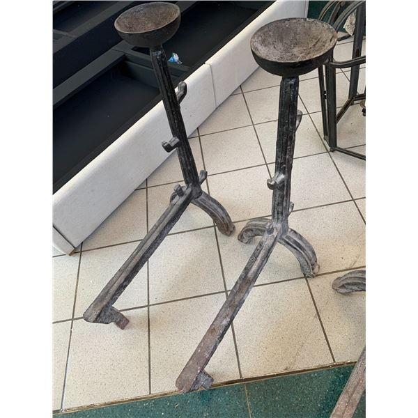 Qty 2 Large Heavy Wrought Iron Fireplace Grates