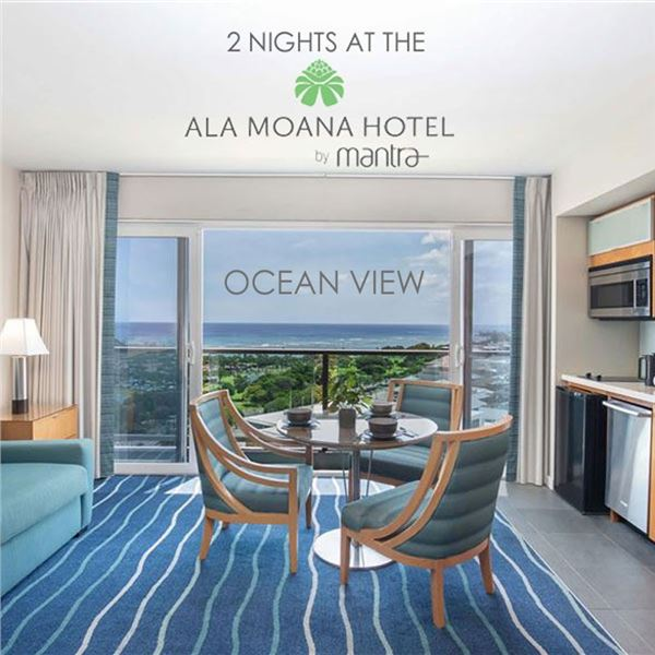 Two night stay at the Ala Moana Hotel. Ocean view. Includes parking.