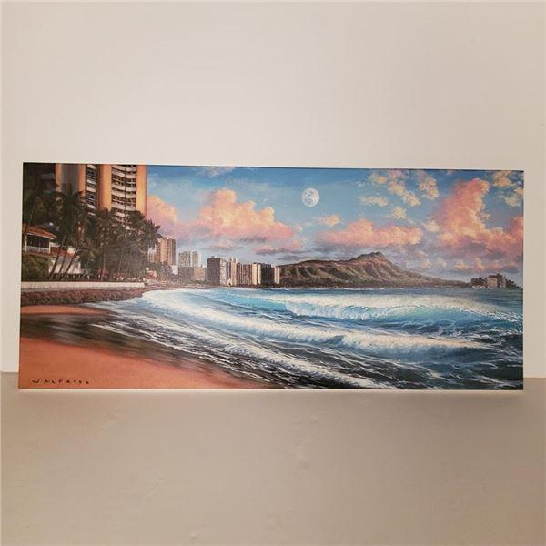 "Walfrido Garcia Painting ""Dusk To Dawn"" Waikiki 16 ''x 40 '' $1,500 Value"