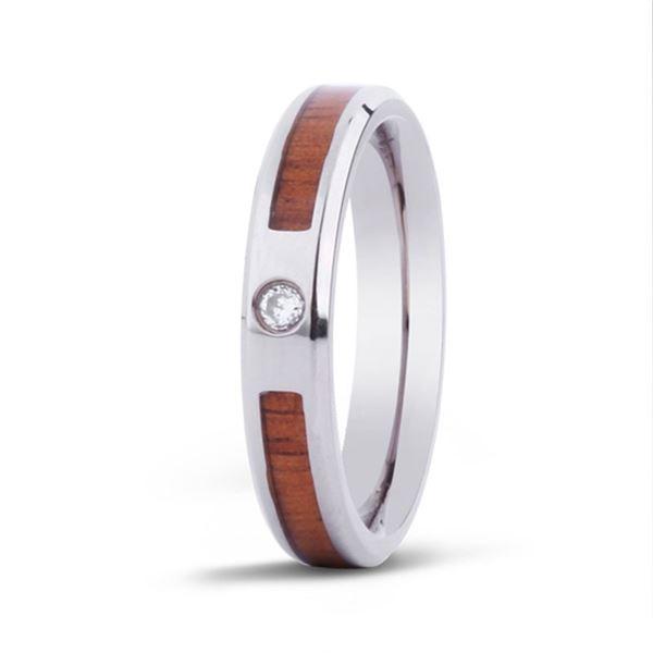 Gift Certificate for 1 Ladies Hawaiian Koa Stone with CZ Titanium Ring