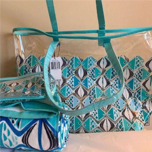 Vera Bradley Beach Bundle: Beach Towel, Zip Pouch & matching Crossbody!