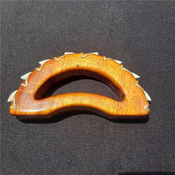 6 X 3'' Hawaiian Koa Knuckle Duster with Tiger Shark Teeth Gloss