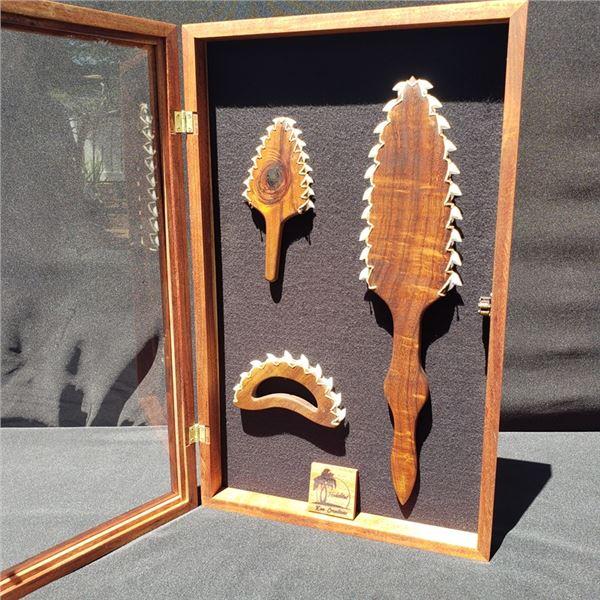 Shadow Box with Hawaiian weapons, All Koa