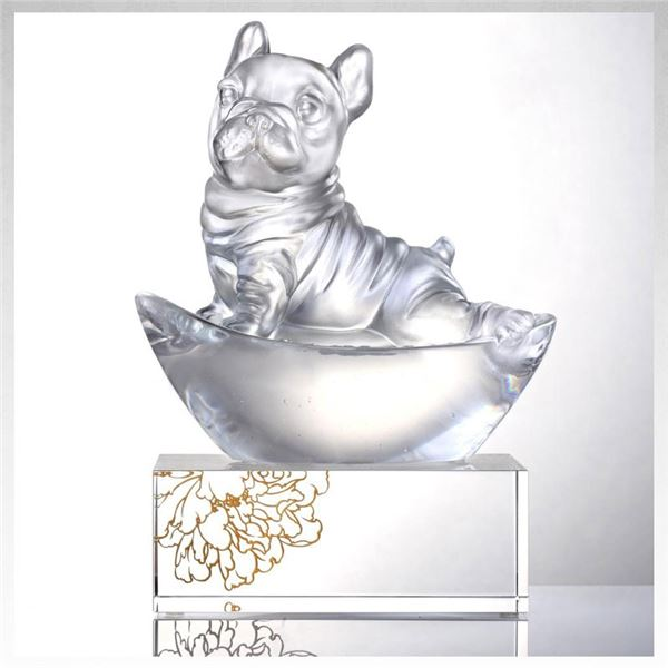 "Liulu Handmade Crystal Dog,"" Heads Up!"" New! $750 Retail Value"
