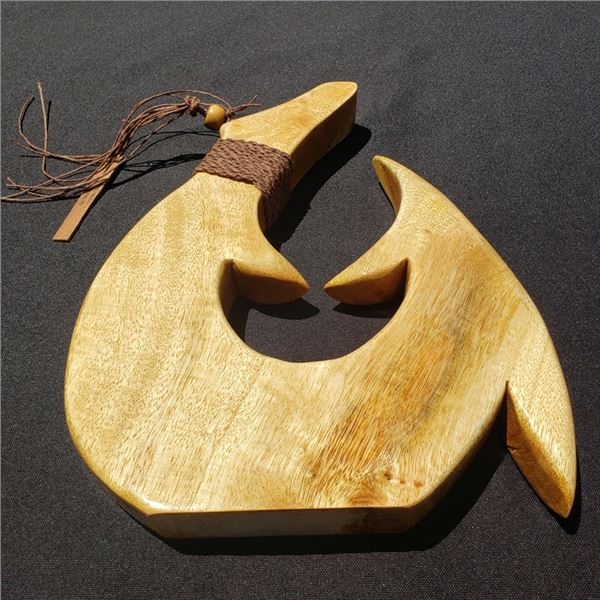"11x 8.5"" Mango Hook, 8 3/4'' Hawaiian Koa Helmet & 2 Koa Hook Necklaces"