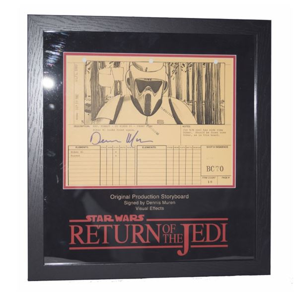 "Star Wars Dennis Muren Signed Storyboard ""Biker Trooper Turns Forward"""
