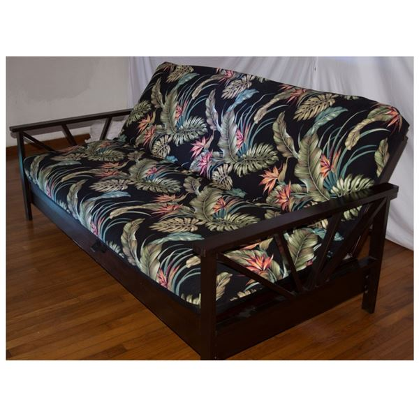 Futon, Table w/ 4 Chairs, Round Metal Wood Shelf & Vases