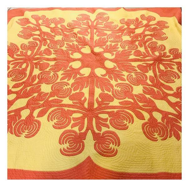 Queen Size Hawaiian Quilt, Handmade by Tomie Karasuda, 102x102''