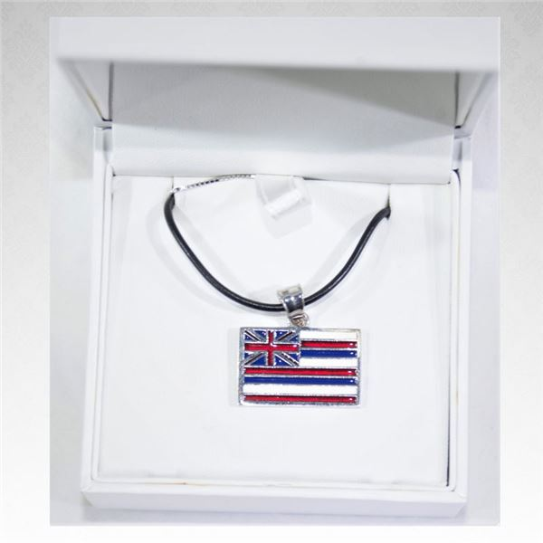 Enamel Hawaiian Flag Pendant with Box Chain and Rubber Cord (New)