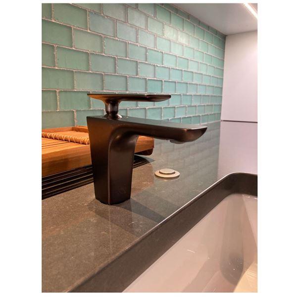 Bronze Single-Handle Lavatory Faucet, Sonic Water Flossing System & Bidet