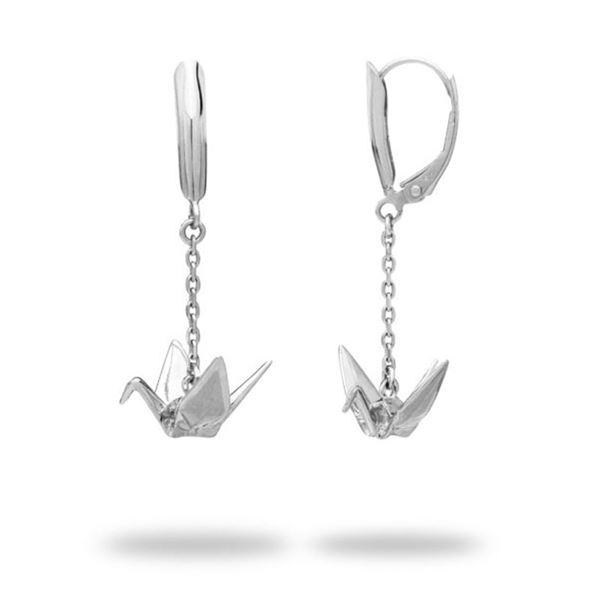 Set of Sterling Silver Origami Crane Earrings New