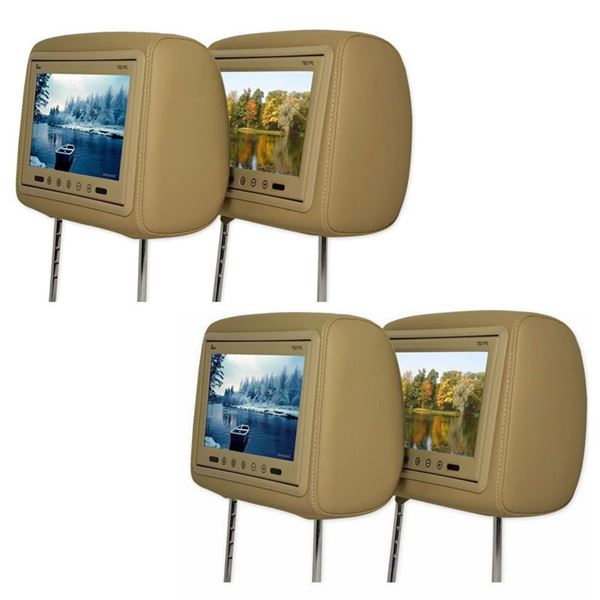 "(4) BPH-951 9"" TFT Car Headrest Monitors (Beige Colored) New"