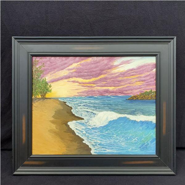 "Small beach painting 25.5'' x 21.5"""