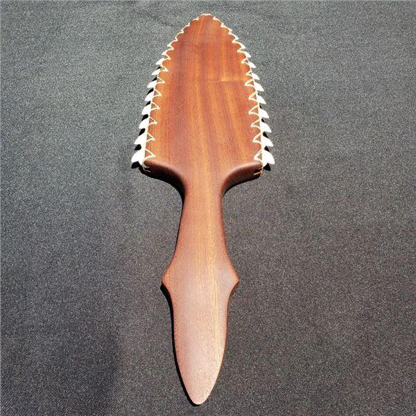 "19"" X 4 3/8'' Hawaiian Lei O Mano Mahogany with Tiger Shark Teeth"
