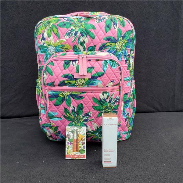 Vera Bradley Pink Floral Print Campus Backpack & Clarins! New