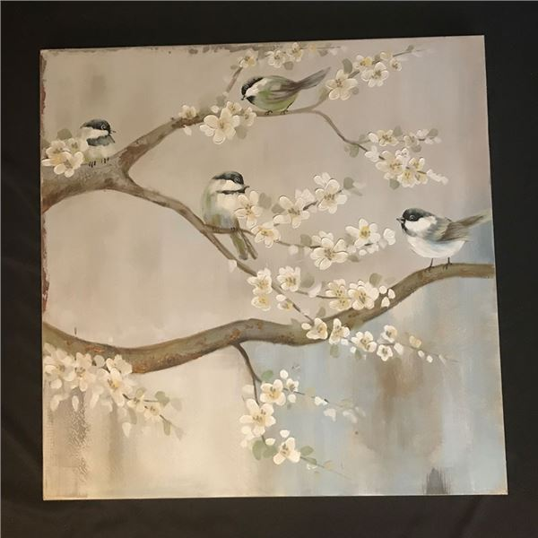 Large painting of 4 Sweet Faced Baby Birds with Gold accents