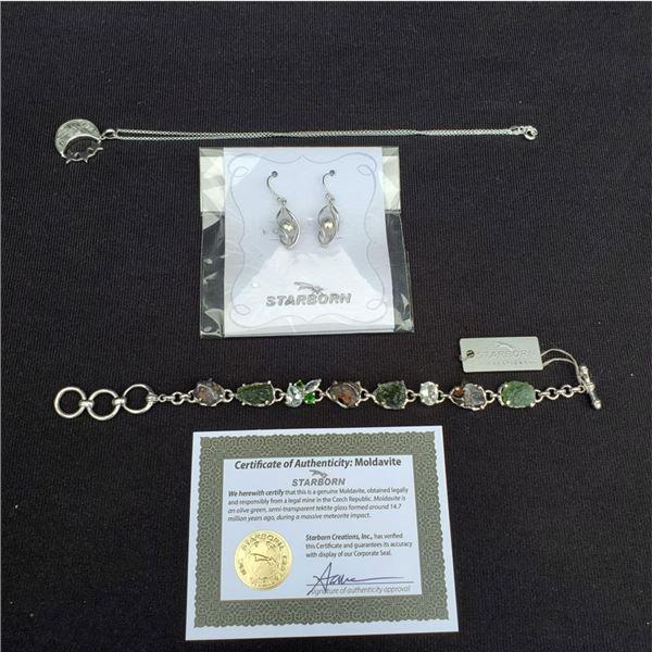 Meteorite Pendant, bracelet, and earring set! (New)