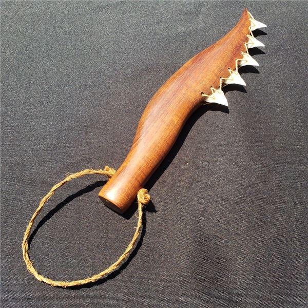 12'' Hawaiian Knife Koa with Tiger Shark Teeth