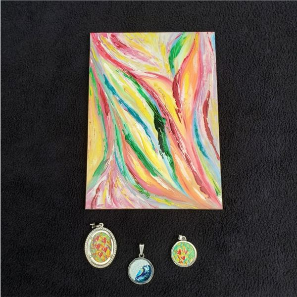 """(3) Pendants and """"Innosense"""" by Lana painting"""