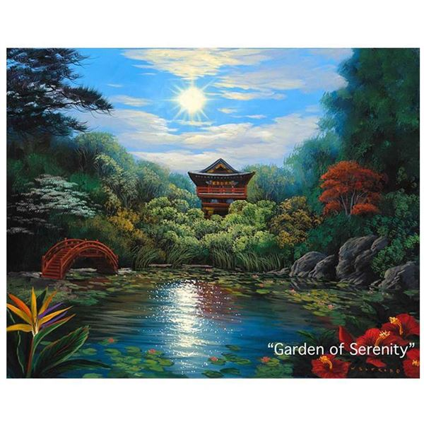 """Garden of Serenity"" Framed Painting by Walfrido Garcia 21"" x 26 1/4"""