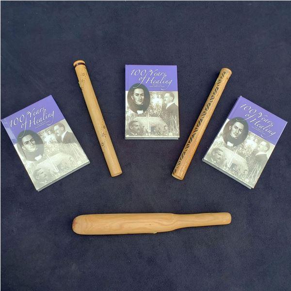 """Tapa Beater, 2 Nose Flutes, 3 """"100 Years of Healing"""" Books Kaua'i Museum"""