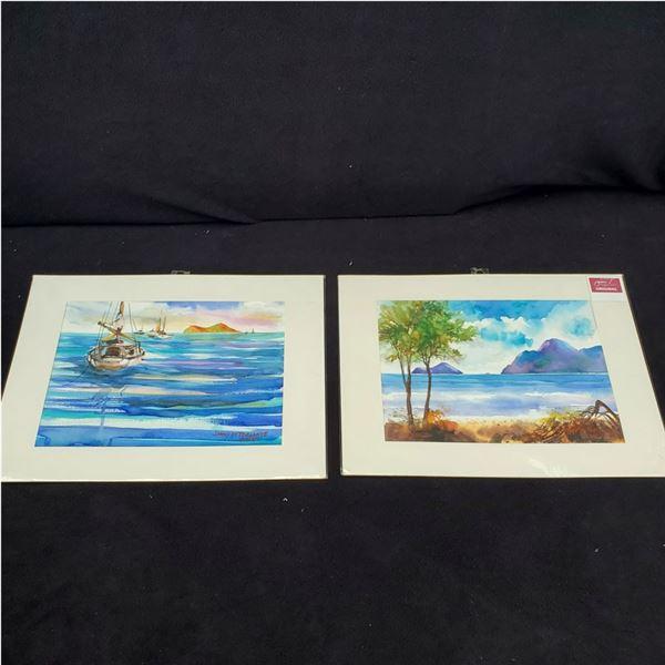 Set of (2) 12 x 16'' Watercolor paintings by Jimi Tablante