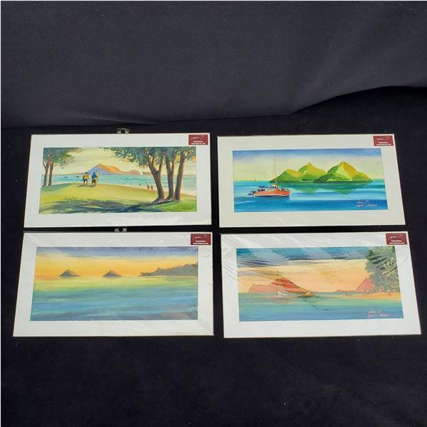 Set of (4) 8 1/2 x 16'' Watercolor paintings by Jimi Tablante