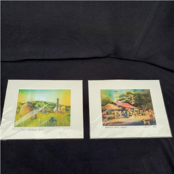 Set of (2) 11 x 14'' Watercolor paintings by Jimi Tablante