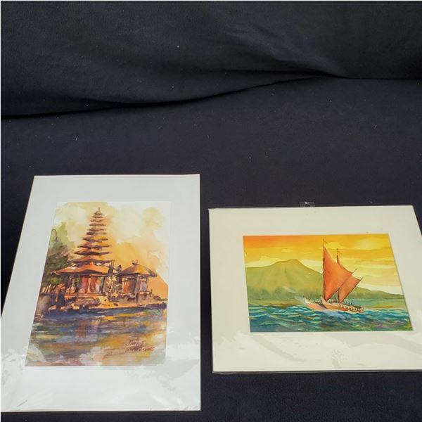 Set of (2): (1) 14 x 11'' , (1) 16 x 12'' Watercolor paintings by Jimi Tablante