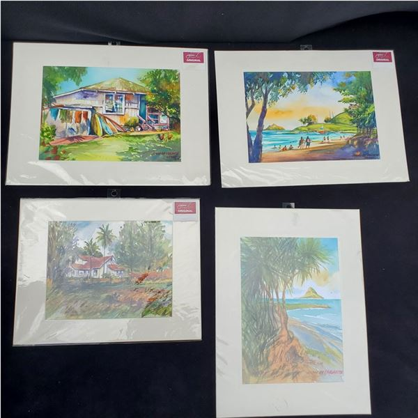 Set of (4): (3) 12 x 16'' (1) 11 x 14'' Watercolor paintings by Jimi Tablante