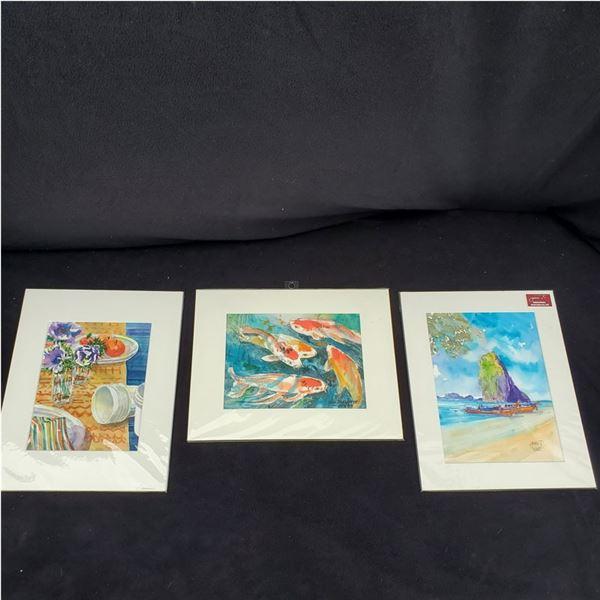 "Set of (3) 11 x 14"" Watercolor paintings by Jimi Tablante"