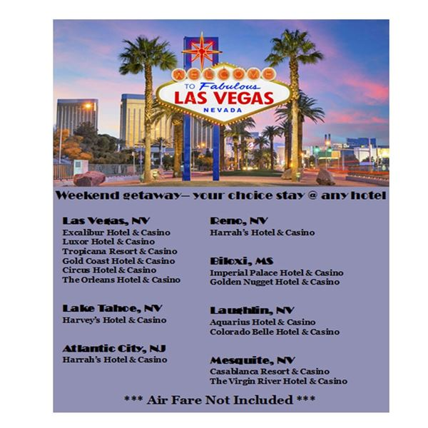 3 days, 2 nights in VEGAS! At your choice of Hotels! (see details)