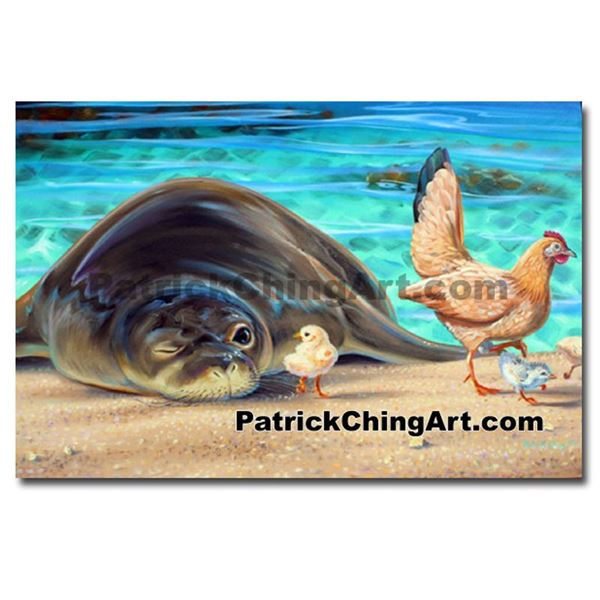 Seal Chick by Patrick Ching Matted Giclee 22 x 15 1/2 ''