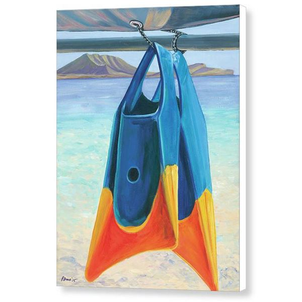 """Fins of Kailua 18"""" X 24"""" Canvas Painting by Patti Bruce"""