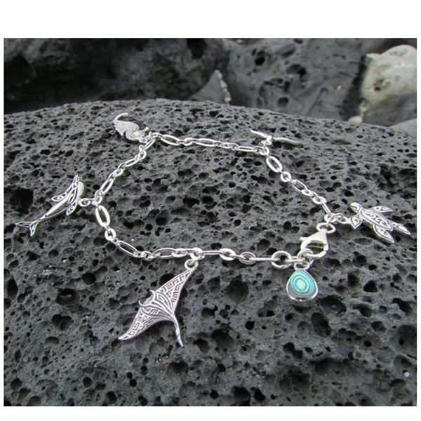 "Sterling Silver 7 .5"" Sea Life Charm Bracelet, New"