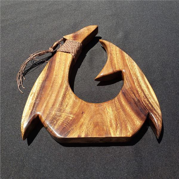Monkey Pod Hook, Koa Fish Hook Necklaces, Hawaiian Koa Helmet
