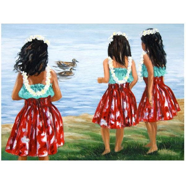 """""""Little Hula Sisters"""" 14"""" x 11"""" Oil Painting on Canvas by Carol Collette"""