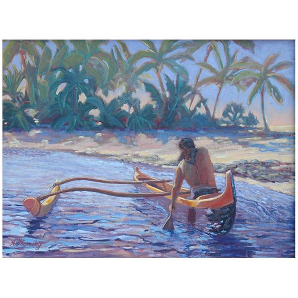"""The Paddler on Canvas by Angela Headley 16"""" x 14''"""