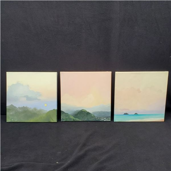 """(3) 12"""" x 12"""" canvas paintings"""