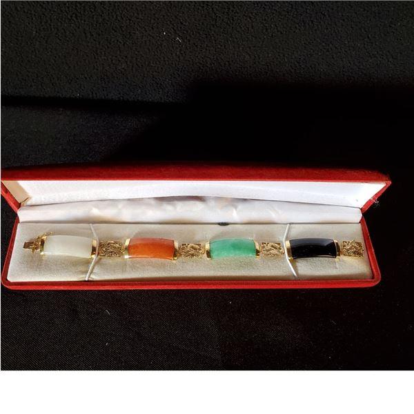 14k bracelet with Black, Green, Orange and White Jade (gently used)